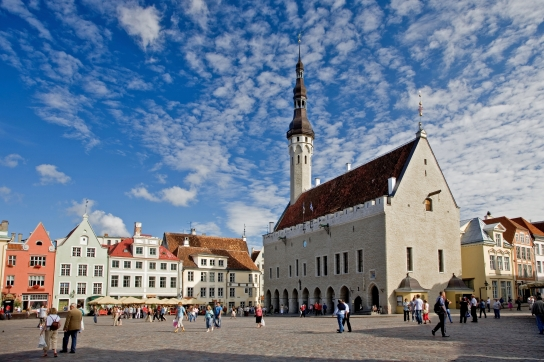 Town Hall Square in Old Medieval Hansa Tallinn, Estonia